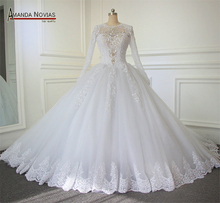 2019 Luxo Catedral/Royal Train vestido de Baile Vestido de Noiva 2019 Lace Beading Zipper Voltar Vestido De Noiva