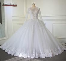 2019 Luxury Cathedral/Royal Train Ball Gown Wedding Dress 2019 Lace Beading Zipper Back Vestido De Noiva
