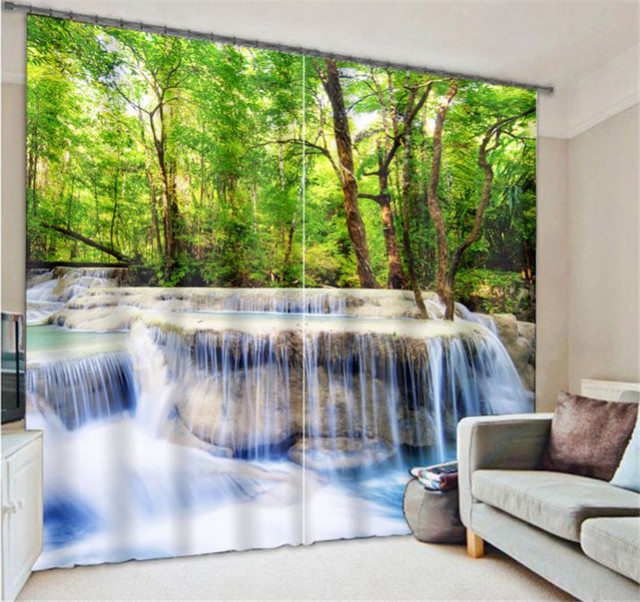 office drapes wall paper beautiful jungle view luxury blackout 3d curtains for living room bedding office drapes cotinas para