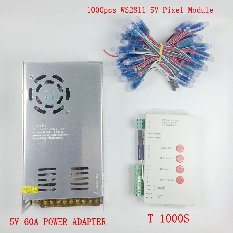 1000pcs DC <font><b>5V</b></font> <font><b>WS2811</b></font> led Pixel <font><b>Modules</b></font> 12mm IP68 RGB diffused addressable + T1000S Controller +<font><b>5V</b></font> 60A Power adapter image