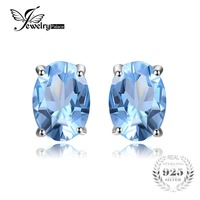 Genuine 1 8ct Natural Sky Blue Topaz Oval Earrings Stud Solid 925 Sterling Silver Women Fashion