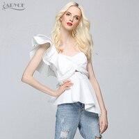 ADYCE 2018 New Fashion Summer Runway Tops Sexy White Women One Shoulder Ruffles Strapless Short Tops Nightclub wear Crop Top