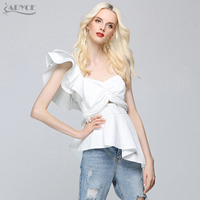 ADYCE 2019 New Fashion Summer Runway Tops Sexy White Women One Shoulder Ruffles Strapless Short Tops Nightclub wear Crop Top