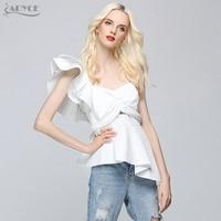 ADYCE 2019 New Fashion Summer Runway Tops Sexy White Women One Shoulder Ruffles Strapless Short Tops Nightclub wear Crop Top