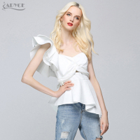 ADYCE 2017 HOT SALE Summer Runway Tops Sexy White Women One Shoulder Ruffles Strapless Short Tops