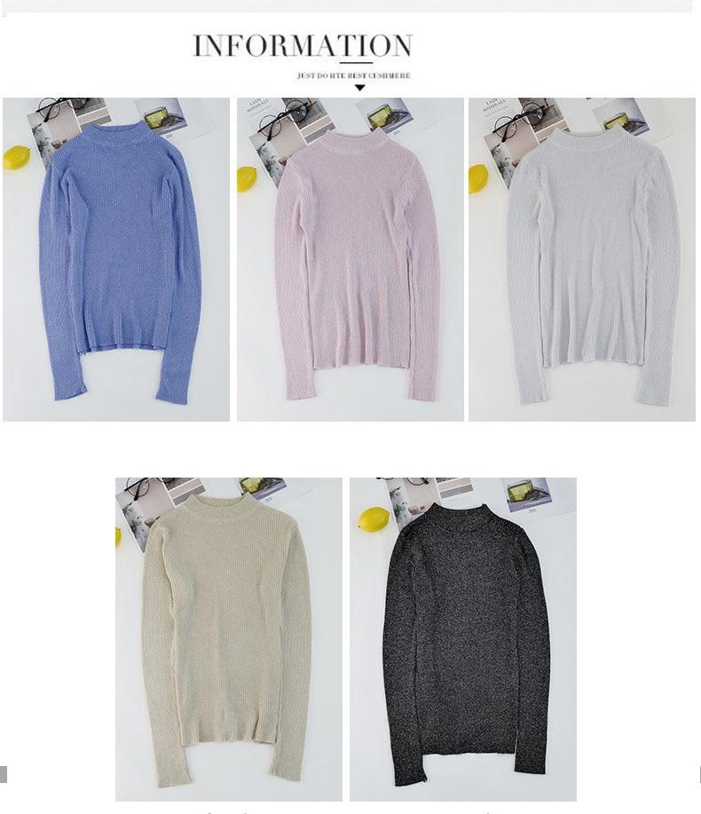 Shiny Lurex Autumn Winter Sweater Women Long Sleeve Pullover Women Basic Sweaters Turtleneck 19 Korean Style Knit Tops Femme 2