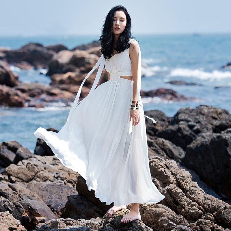 2017 New Real The Seaside Resort Of Bohemia Beach Skirt Dress White Halter Chiffon Thailand Tourism mayflower beach resort 3 гоа