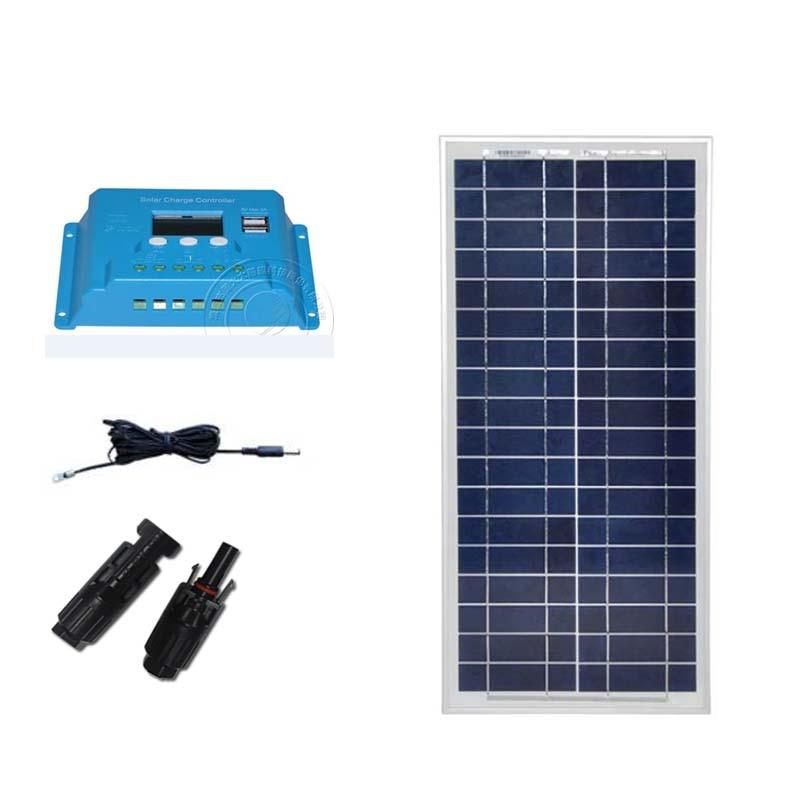 Kit Solarpanel 12v 20w Solar Battery Charger Solar Controller Regulator 12v24v 10A LED LAMP Light Phone Charger Camp Caravan