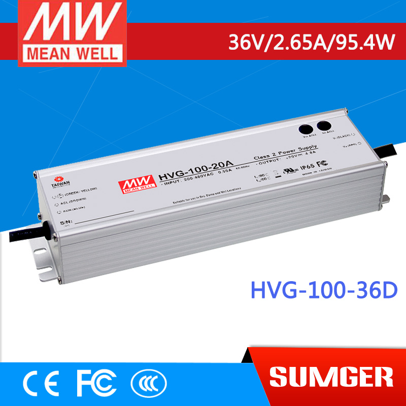 1MEAN WELL original HVG-100-36D 36V 2.65A meanwell HVG-100 36V 95.4W Single Output LED Driver Power Supply D type 1mean well original hvg 100 15a 15v 5a meanwell hvg 100 15v 75w single output led driver power supply a type