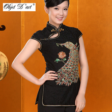 2017 Chinese Traditional Style Cheongsam Top Women Retro Summer Peacock Short Sleeve Tang Suit Qipao Top Blouse S-XXL Oversize