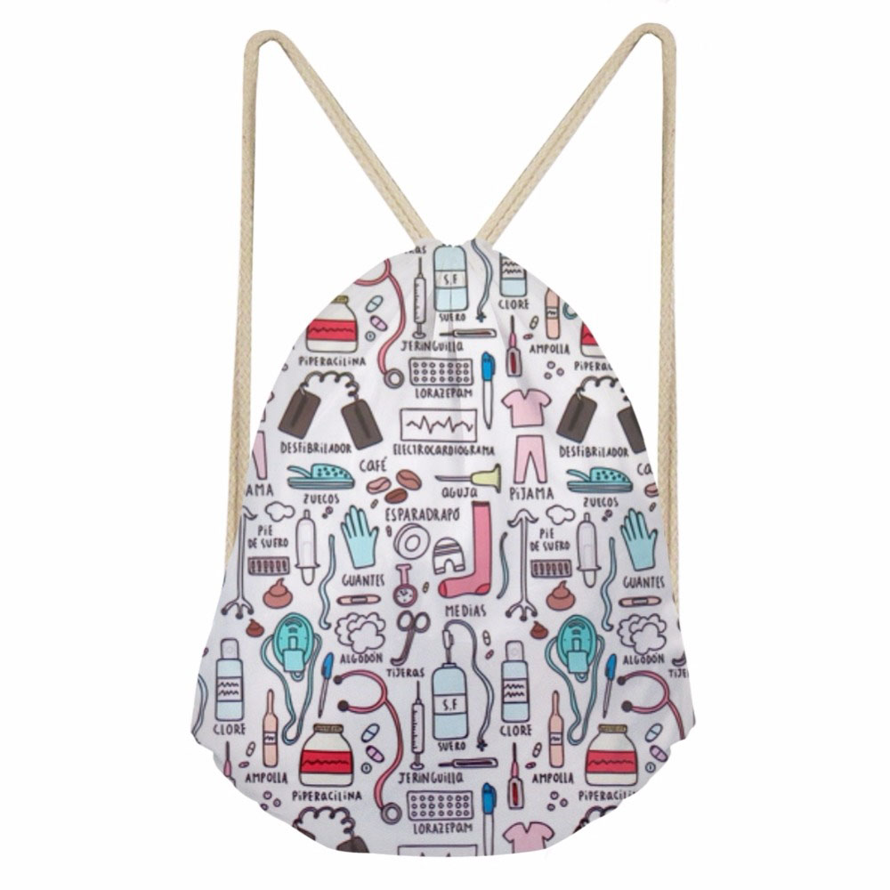 ThiKin Fashion Cartoon Nurse 3D Printing Drawstring Bags For Teen Girls Softback Large Students Backpack Storage Beach Bags