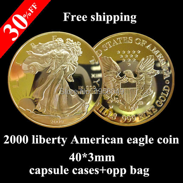 2000 USA 1oz 24K .999 Gold Clad Liberty Walking Eagle Coin Bullion United States coin,5pcs/lot Free shipping