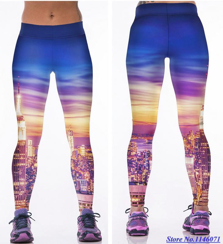 Golden Purple New York Yoga Pants Women Skyscrapers Sunset