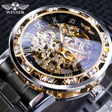 Winner Mens Watches Luxury Rhinestone Roman Black Stainless Steel Band Business Mechanical Watch Sports Clock Relogio Masculino