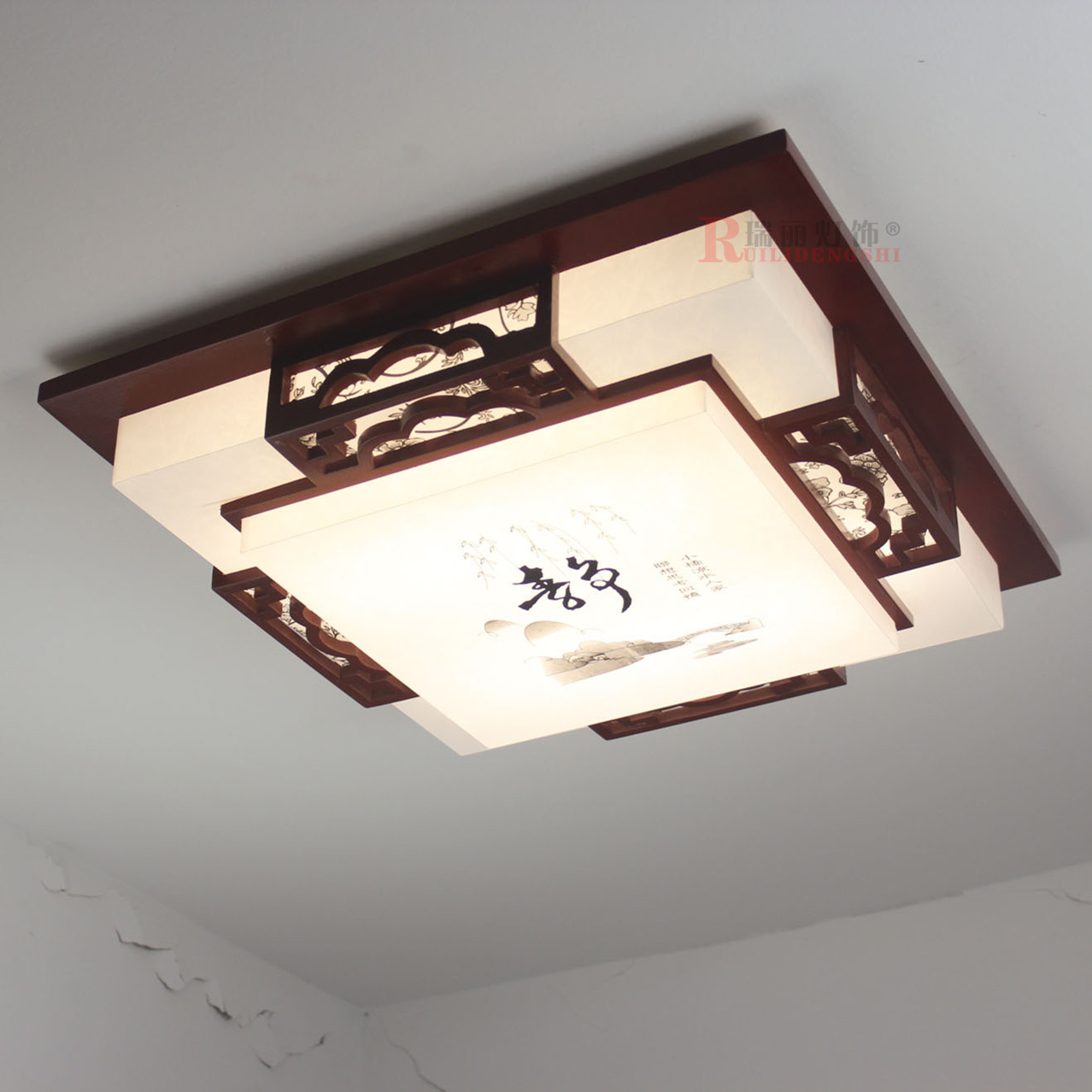 Chinese style modern Brief solid wood square ceiling light energy saving sheep skin lamp living room bedroom light AC220V