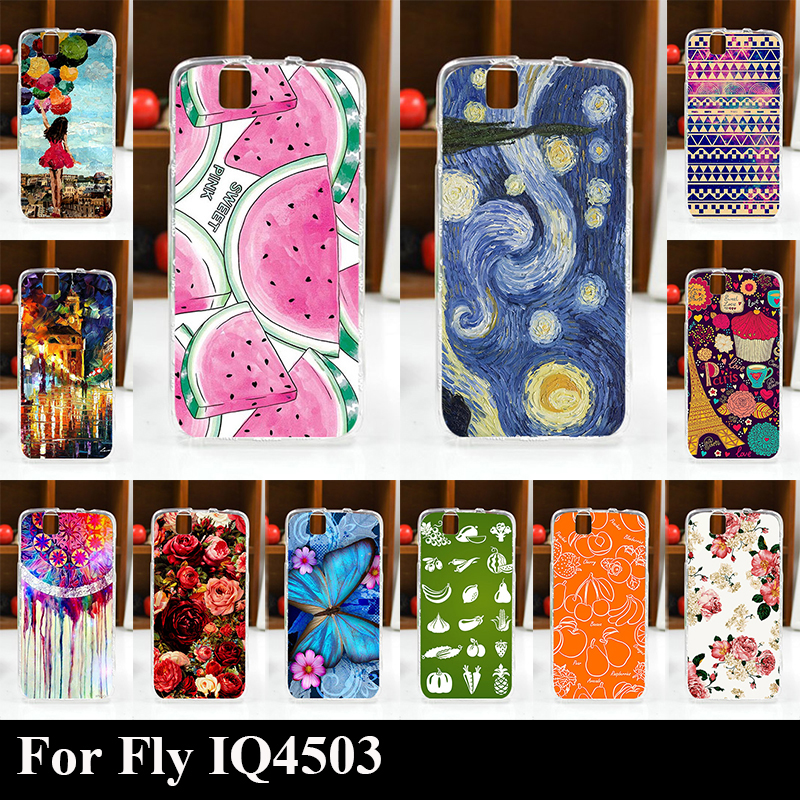 FOR Fly IQ4503 IQ 4503 Quad Era Life 6 tpu Soft Plastic Mobile Phone Cover Case DIY Color Paitn Cellphone Bag Shell