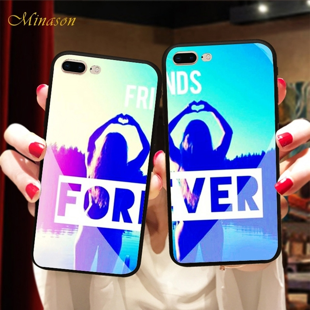 new styles 24eec de04f US $1.99 35% OFF|Aliexpress.com : Buy Minason Best Friends Forever BFF Case  For iPhone X 8 5 5S XR XS Max 6 6S 7 Plus Matching Girls Cover Capinha de  ...