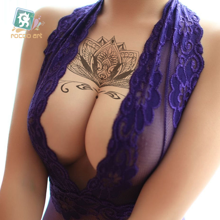 Rocooart BC-010 24X13.8cm Body Wreath Sexy Tatuagem Sexy Beauty Temporary Tattoo Lace Lotus Flower Waist Circle Tatoo Sticker