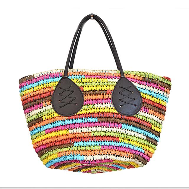 71794b389ebf Новинка 2016 летняя мода цвета радуги большой мешок соломы подготовить  пакет пляжная сумка высокой емкости пляж
