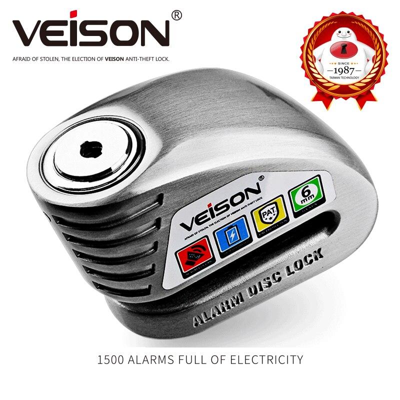 VEISON Motorcycle DISK Waterproof Alarm LOCK Anti-theft 130dB Motorbike /Bike Disc Security Warning 6mm Pin Brake Lock