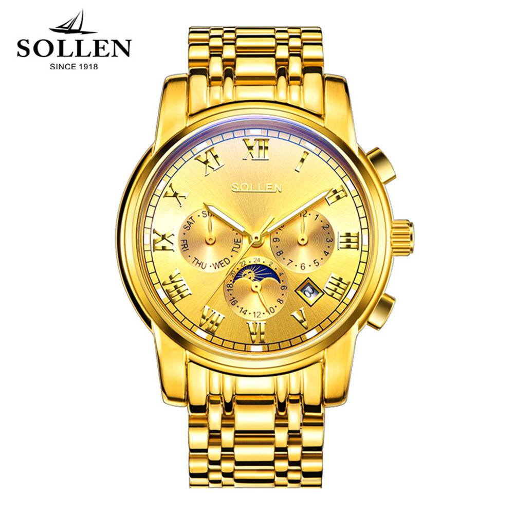 2017 Luxury SOLLEN Brand Watch Men Luminous Moon phase Automatic Mechanical Watches Waterproof Men'S Full Steel Clock Relojoes sollen mens automatic mechanical watch diamond gold full steel sapphire waterproof luminous male luxury top brand watches reloj