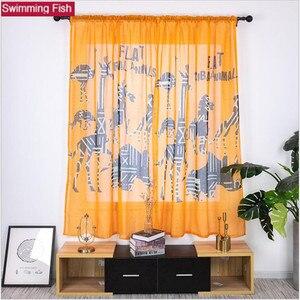 1 zestaw okno przesiewowe tulle krótkie drzwi kurtyny, drukuj zwierząt wzór pomarańczowy zasłony dla dzieci salon