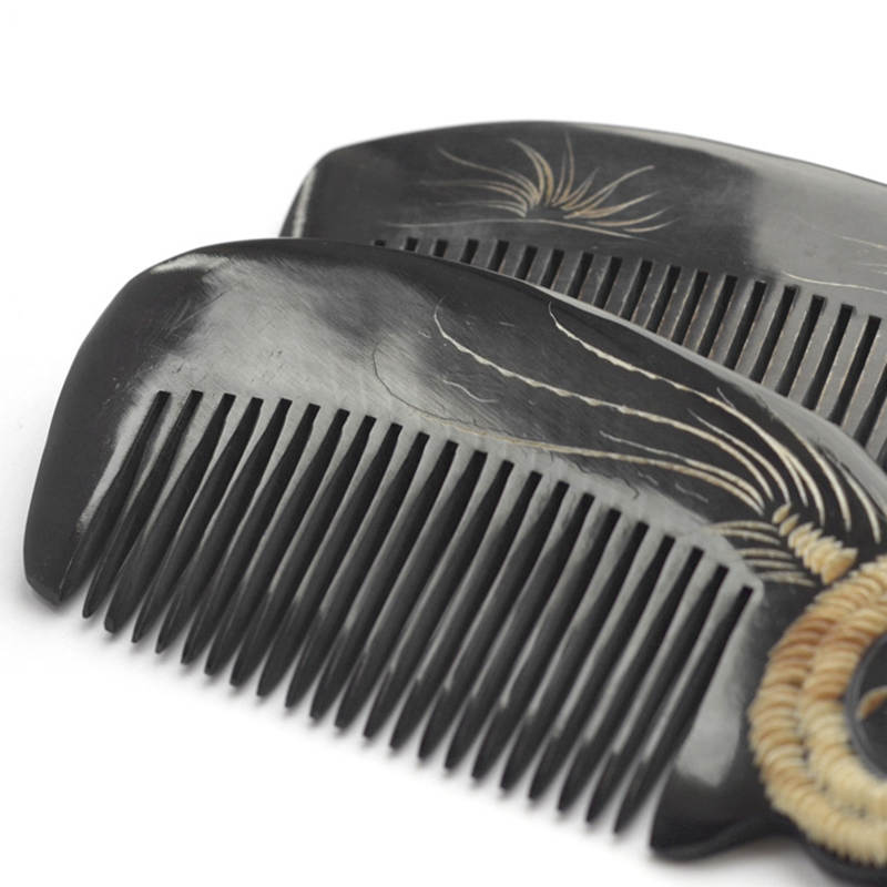 L001 Natural Black Buffalo Carved Chinese 12 Zodian Animals Comb Heathy Gift Combs 12pcs Set Free Ship