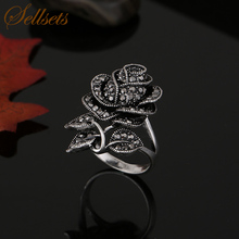 Sellsets High Quality Antique Silver Color Vintage Jewelry Black Crystal Rose Flower Rings For Women