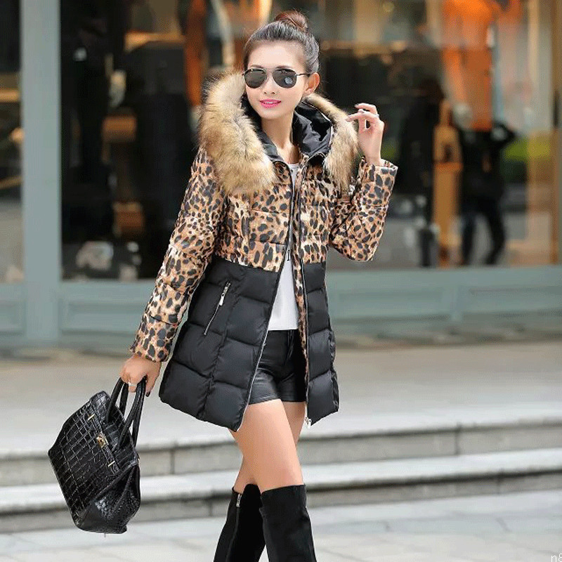 Top Quality Winter Women Coat 2015 New Brand Leopard Parka Jacket Luxury Overcoat Warm Thicken Down Outwear Parka H4482 new winter women lady thicken warm coat hood parka long jacket overcoat outwear
