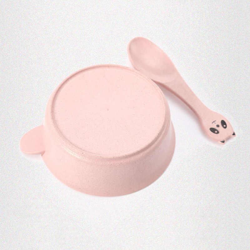 2 шт./компл. детская посуда для кормления панда Пшеница детская посуда экологичные Детские тренировочные столовые приборы тарелка чаша ложка BB5088