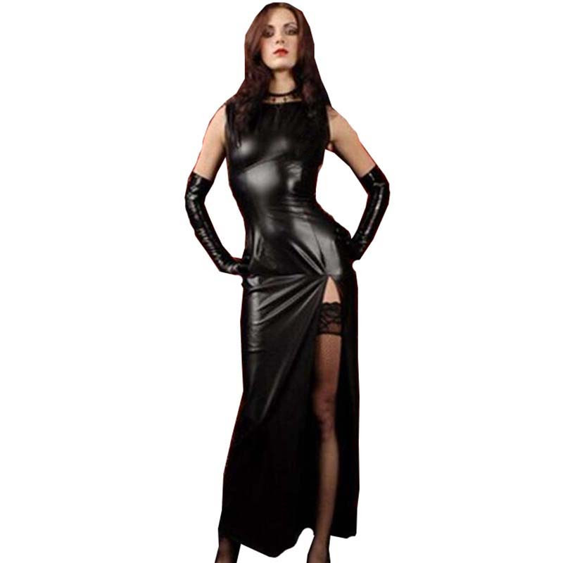 Sexy Women Black Faux Leather Long Dress With Split Side Slit Nightclub DS Bar Stage Bodycon Maxi Long Dress Clubwear Vestidos