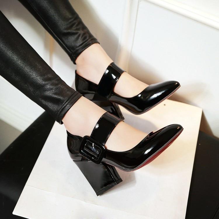 Bal Mary Noir Hauts apricot Talons Chaussures Élégantes Épais Bloc Pointu Bout Parti À Filles Clubwear Lady rouge Femmes Avec De Danc Pompes blanc Jane xqP0t