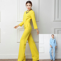Women Spring Fashion Jumpsuits Full Length Wide Leg Pants Slim Female Bodysuit Women Yellow Bule Jumpsuits