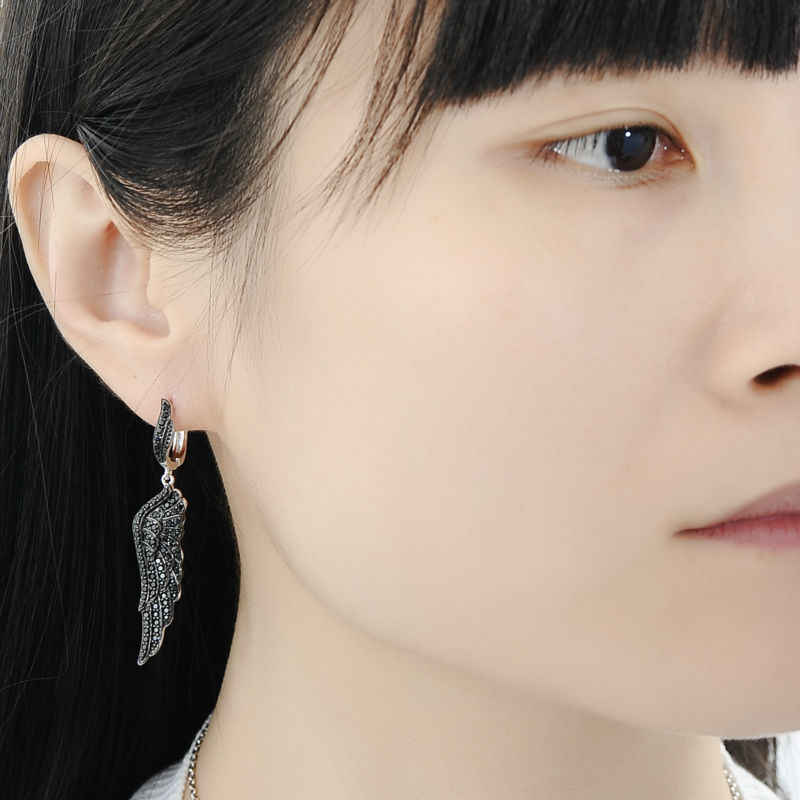 SANTUZZA Schmuck Sets Für Frauen Elegante Schwarz Engel Flügel Drop Ohrringe Anhänger Ring Reine 925 Sterling Silber Mode Schmuck