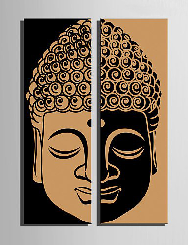 2017 New Limited Rectangle No Unframed Two Pieces Combinated Vintage For Buddha Head Half Face Wall