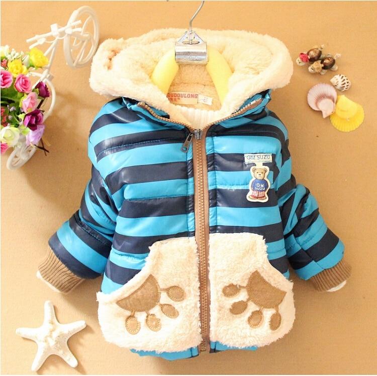 New Winter Baby Boys Jacket Cartoon Bear Casual Hooded Children Outwear Cotton Thick Keeping Warm Boys