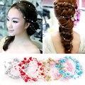 Fashion bridal headdress stars round beads white red long-line bridal pearl wire headdress wedding jewelry free shippingXTS025