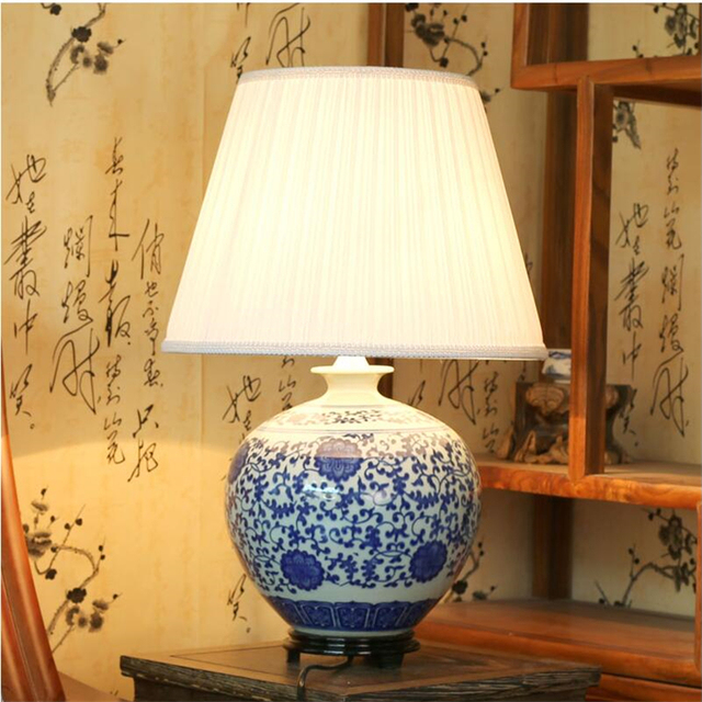 Chinese Vintage Clic White Blue Porcelain Table Lamp For Bedroom Ceramic Vase New Design Home Decoration