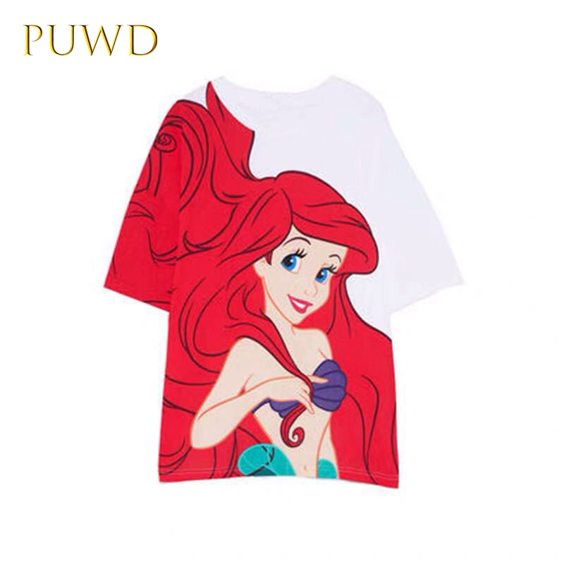 Puwd Women  Little Mermaid Print T-shirt Mid-length Loose Version Top