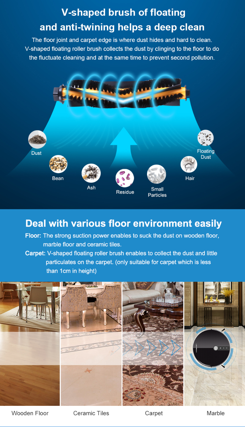 LIECTROUX C30B Robot Vacuum Cleaner,Map navigation,3000Pa Suction, ,Smart Memory, Map Display on Wifi APP, Electric Water tank