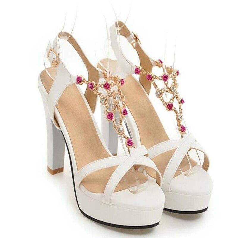 Imperméables 43 Bohême Orteil Avec 2 35 Femme Chaussures 4 Tout Diamant D'été Blanc Femmes Taille 1 allumette Épais Sandales Grande 3 awrtEx0w