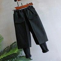 תינוק בגדי חורף חותלות לילדה מזדמנים לילדים עבה יותר לחתוך אתחול חם מזויף שתי חתיכות בגדי ילדים מכנסיים