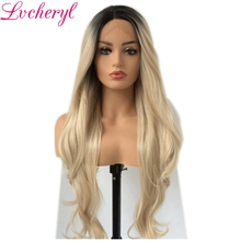 Lvcheryl Hand Tied Ombre Sötét Roots to Blonde Hosszú hullámos stílus Heat Resistant Fiber Hair Szintetikus csipke Front parókák a nők számára
