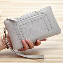 Fashion Genuine Leather Women Day Clutches Bags Lady Zipper Handbag Cowhide Casual Clutch Pouch Case Wrist Bag For Girls