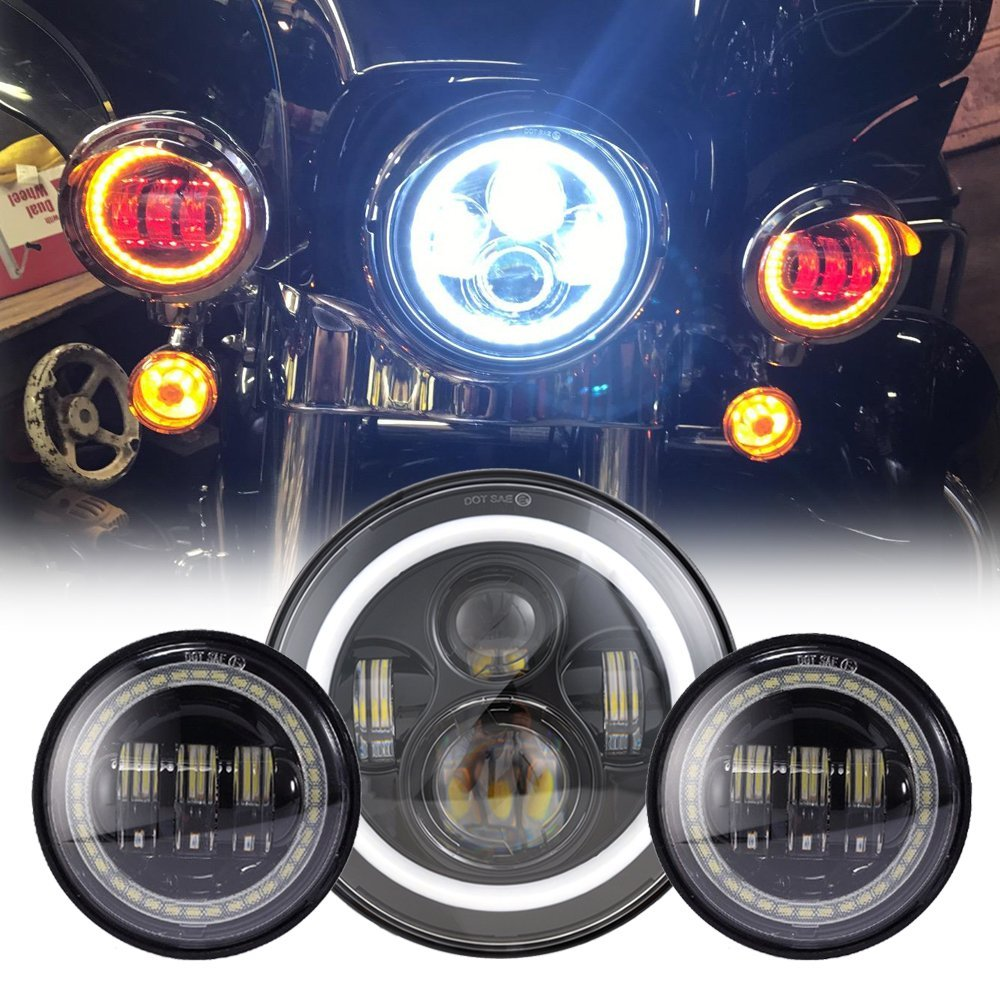 Black 7 Inch for Harley Daymaker LED Headlight with DRL+ 2x 4.5 30w Fog Light Passing Lamps for Harley Davidson Motorcycle led motorcycle fog lights chrome for harley 12v 4 5 inch fog lamp 4 1 2 30w passing drl waterproof motorbike black for harley