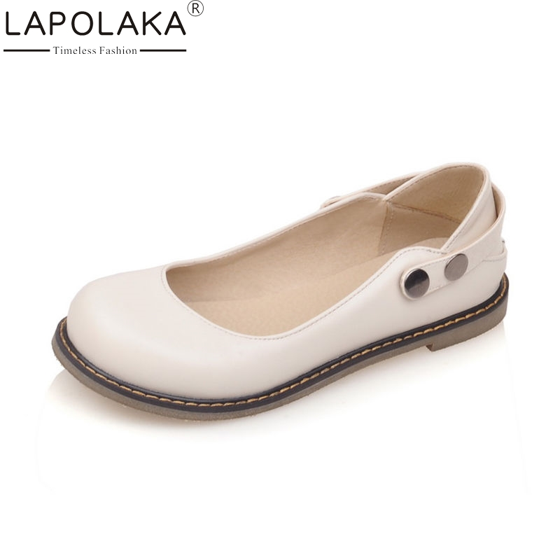 LAPOLAKA 2018 Spring Summer Sweet Shallow Women Flats Big Size 33-43 Low Heels Shoes Woman Two Style Casual Shoes lapolaka 2018 spring autumn sweet shallow women ballet flats bow beading slip on shoes woman big size 33 43 casual footwear