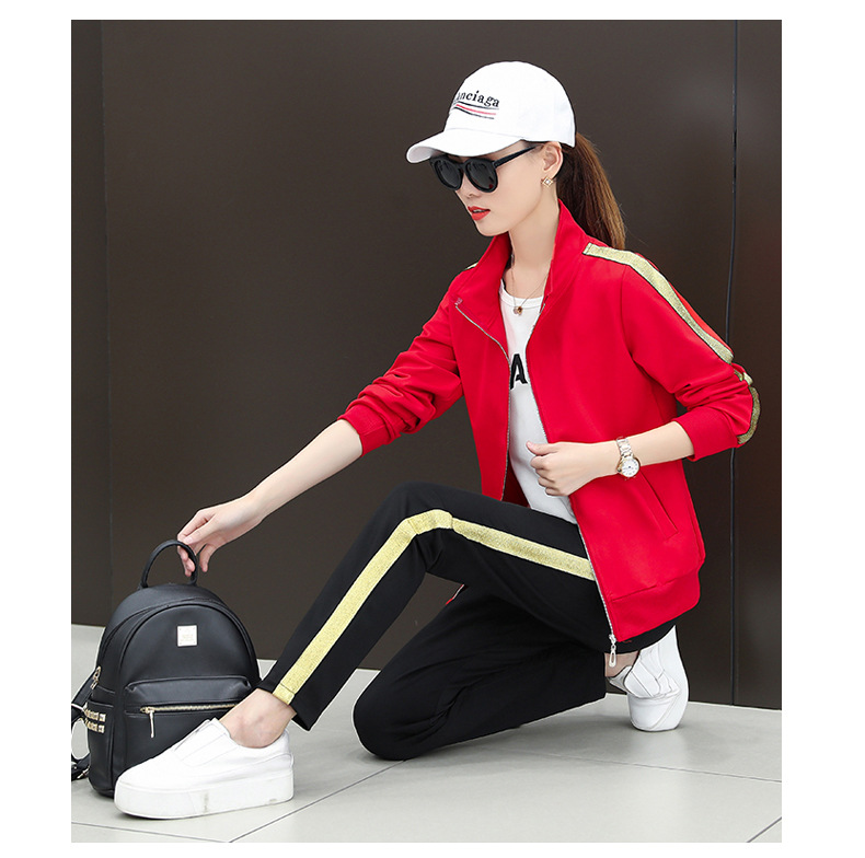 3pcs spring women sportswear tracksuit loose stripe zip up jacket running jogger training fitness workout outfit set sport suit in Trainning Exercise Sets from Sports Entertainment