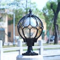 Waterproof outdoor pillar lamp vintage wall post light Retro garden landscape lamp villa led outdoor garden lamp glass lampshade