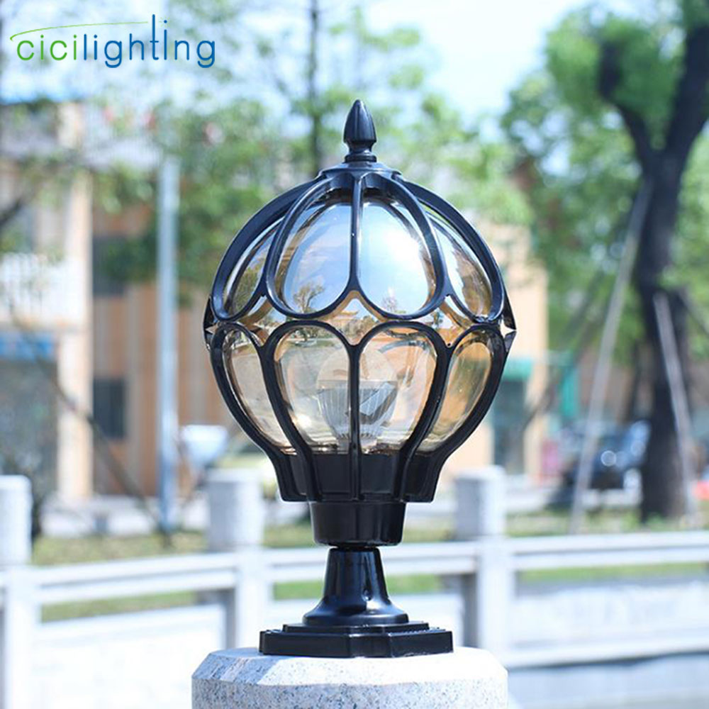 Waterproof outdoor pillar lamp vintage wall post light Retro garden landscape lamp villa led outdoor garden lamp glass lampshadeWaterproof outdoor pillar lamp vintage wall post light Retro garden landscape lamp villa led outdoor garden lamp glass lampshade