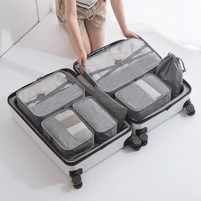 Tiohoh 8 pièces voyage Portable sac de rangement ensemble mode étanche multifonction vêtements chaussures cosmétiques catégories organisateur sac